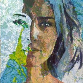 Dual, 2017, Acryl und Papiercollage auf Leiwand, 90 x 55 cm