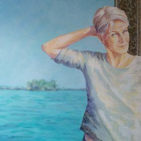 SEElbstbildnis, 2019, Acryl und Papiercollage auf Leinwand, 90 x 120 cm
