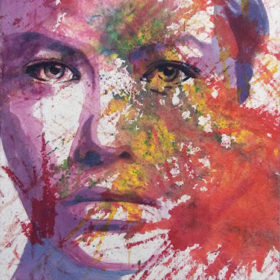 impulsiv, 2017, Acryl auf Molino auf Leinwand, 90 x 70 cm