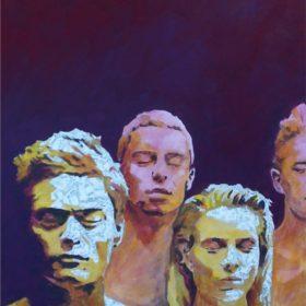 Schweigend I, 2017, Acryl und Papiercollage auf Leinwand, 80 x 140 cm