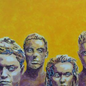 Schweigend II, 2017, Acryl und Papiercollage auf Leinwand, 80 x 140 cm