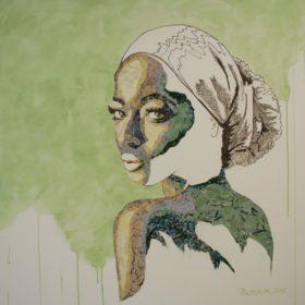 sensitiv II, 2017, Acryl und Papiercollage auf Leinwand, 90 x 90 cm