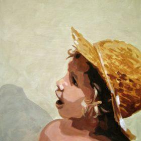 M mit Hut I, 2006, Acryl auf Leinwand, 70 x 50 cm