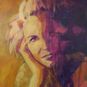 Simultan II, 2018, Acryl auf Leinwand, 60 x 50 cm