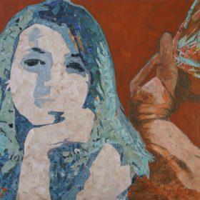 Tagtraum, 2016, Acryl und Papiercollage auf Leinwand, 60 x 85 cm