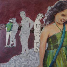 Urlaubscombo, 2016, Acryl, Kohle und Papiercollage auf Leinwand, 80 x 80 cm