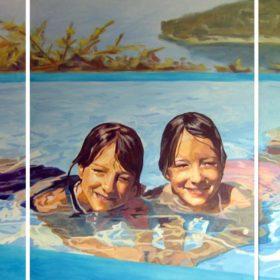 Zwillinge, 2006, Acryl auf Leinwand, 100 x 180 cm
