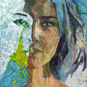 dual, 2017, Acryl und Papiercollage auf Molino auf Leinwand, 90 x 55 cm