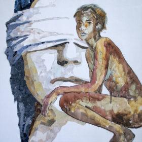 Flüchtig, 2015, Acryl, Kohle und Papiercollage auf Leinwand, 80 x 80 cm