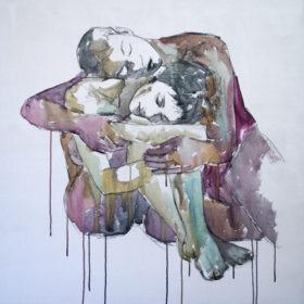 Eins, 2015, Acryl und Kohle auf Leinwand, 90 x 90 cm