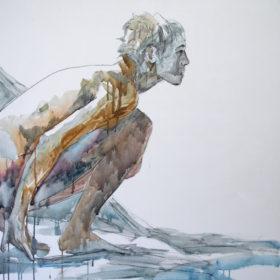 bereit, 2015, Acryl und Kohle auf Leinwand, 90 x 90 cm