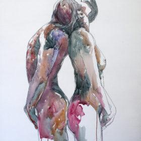 Tragend, 2015, Acryl und Kohle auf Leinwand, 145 x 100 cm