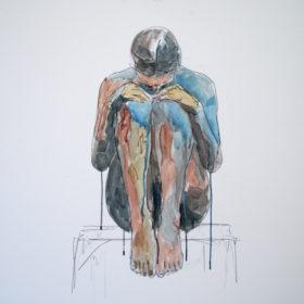 In mir, 2015, Acryl und Kohle auf Leinwand, 80 x 80 cm