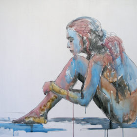 Lösend, 2015, Acryl und Kohle auf Leinwand, 90 x 120 cm