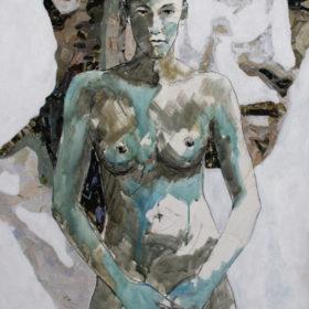 Bei mir, 2015, Acryl, Kohle und Papiercollage auf Leinwand, 100 x 70 cm