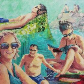 Vourvourou, 2019, Acryl und Papiercollage auf Leinwand, 90 x 90 cm