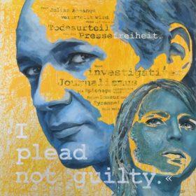 I plead not guilty, Acryl und Papiercollage auf Leinwand, 130 x 130 cm