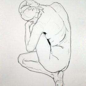 Rückenakt, kauernd, 2014, Graphit auf Papier, 60 x 45 cm