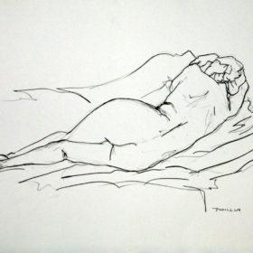 Liegender Akt, 2016, Graphit auf Papier, 45 x 60 cm