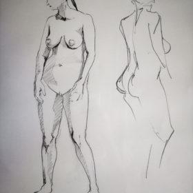 Stehender Akt mit Spiegelbild, 2004, Graphit auf Papier, 60 x 45 cm