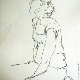 Mädchen sitzend, 2008, Graphit auf Papier, 60 x 45 cm