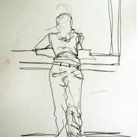 Mädchen am Fenster, 2008, Graphit auf Papier, 60 x 45 cm