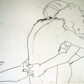 Tanz der Moleküle, 2008, Graphit auf Papier, 45 x 60 cm