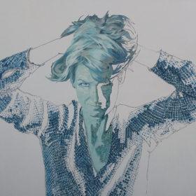 Spiegelbilder O.T. 3, 2021, Acryl und Papiercollage auf Leinwand, 90 x 120 cm